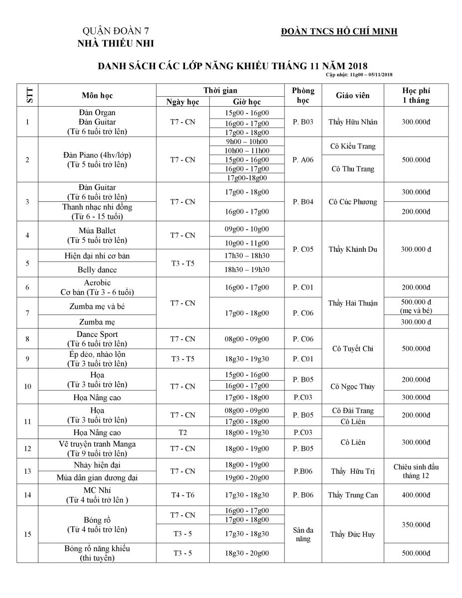 Lịch chiêu sinh các lớp năng khiếu Tháng 11/2018
